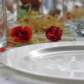 Assiettes en plastique rondes luxe blanc nacré
