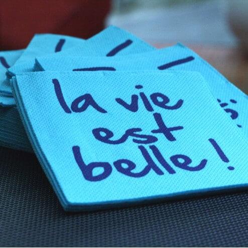 """Serviettes en papier """"La vie est belle"""""""