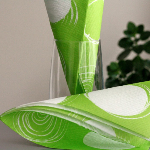 """Serviettes en papier """"Cercles"""" Vert anis 38 x 38cm"""