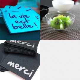 Pack 100 mini-serviettes apéro + 10 mini- coupelles