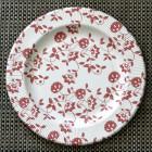 Assiettes carton compostables décor fleurs rouges 26 cm