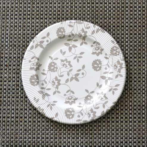 Assiettes carton compostables décor fleurs taupe 20 cm
