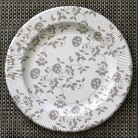Assiettes carton compostables décor fleurs taupe 26 cm