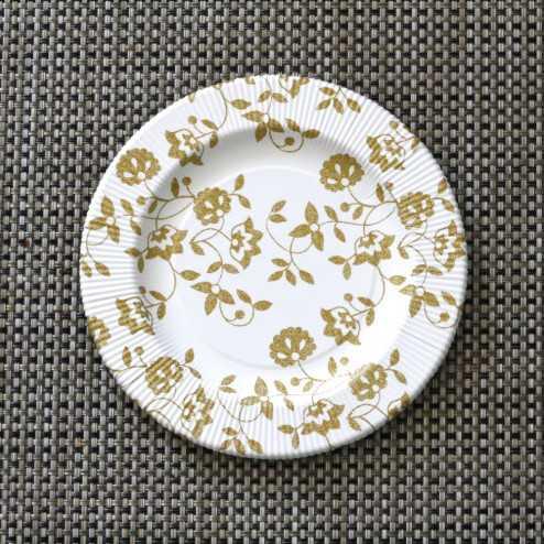 Assiettes carton compostables décor fleurs or 20 cm