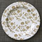 Assiettes carton compostables décor fleurs or 26 cm