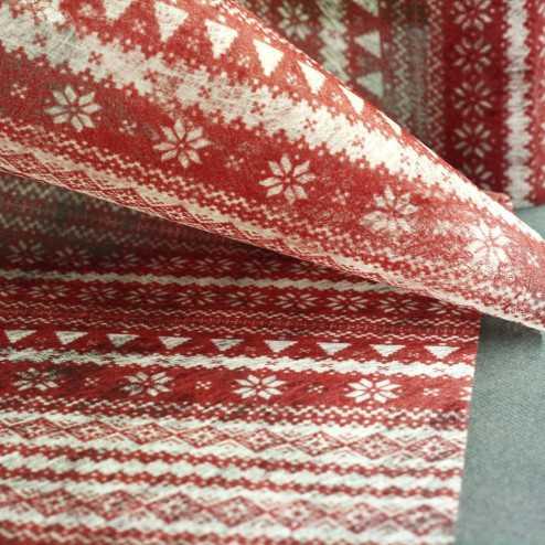 Chemins de table Jacquard rouge 5 mètres