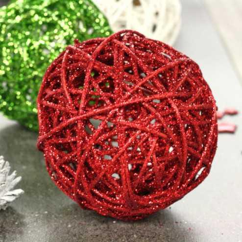 Boules en rotin rouge 12 cm