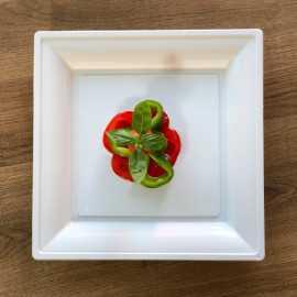 Assiettes en plastique carrées style blanche