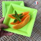 Assiettes en plastique carrées vert anis