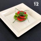 Assiettes en plastique carrées ivoire
