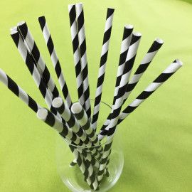Pailles papier torsadées noires et blanches x 100