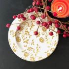Assiettes Bio compostables décor or 20 cm