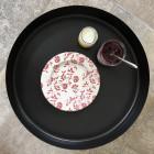 Assiette Bio compostable décor rouge 20 cm
