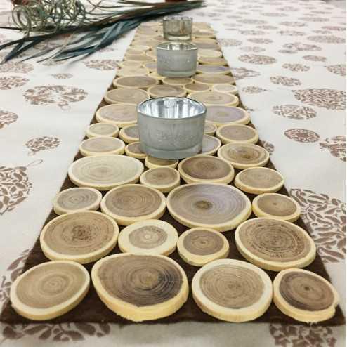 Centre de table rectangulaire bois naturel 80 x 15 cm