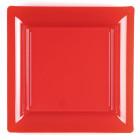 Assiettes en plastique carrées rouge