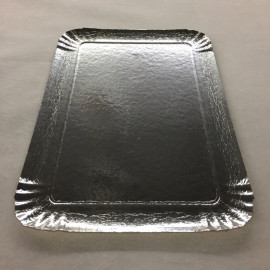 Plateau carton argent 28 x 19 cm