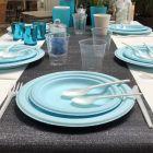 Assiette fibre Bio bleu macaron 23 cm. Biodégradable. Compostable. Par 12