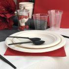 Assiette fibre Bio blanc macaron 23 cm. Biodégradable. Compostable. Par 20
