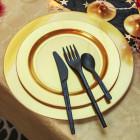 Assiettes en plastique rondes luxe or mat