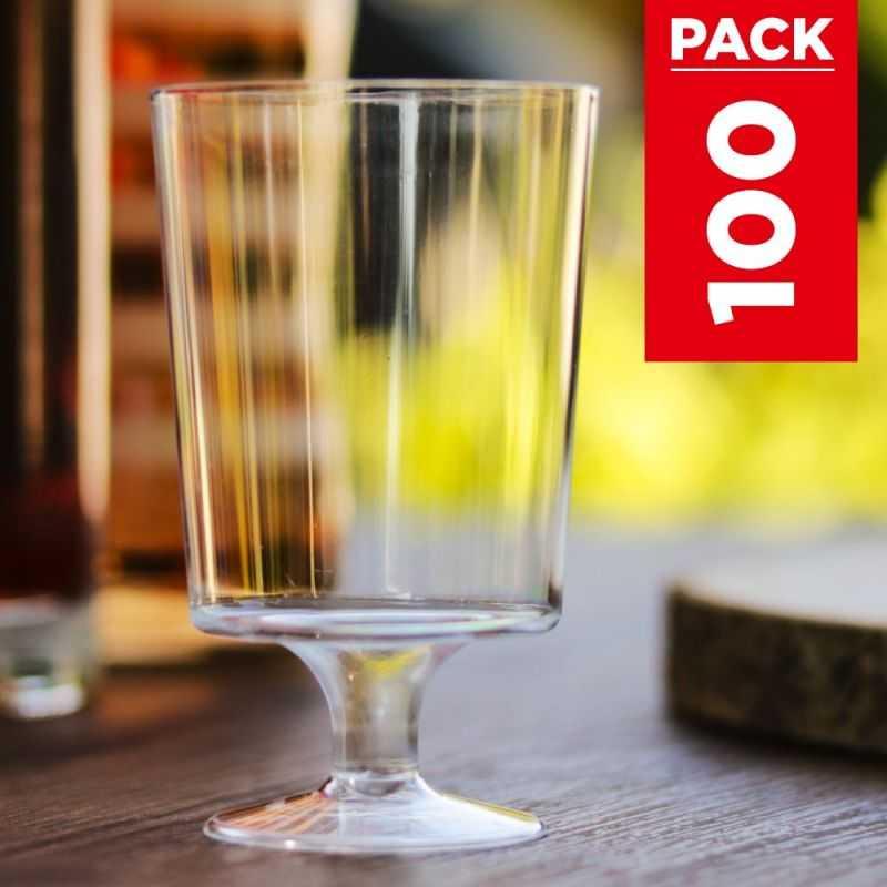 Pack 100 verres à vin 17 cl. Lavables Réutilisables.