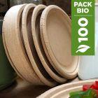 Pack 100 Assiettes biodégradables rondes kraft