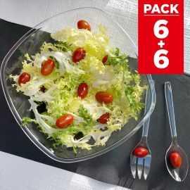 Pack 6 Saladiers 3 litres + 6 sets de couverts