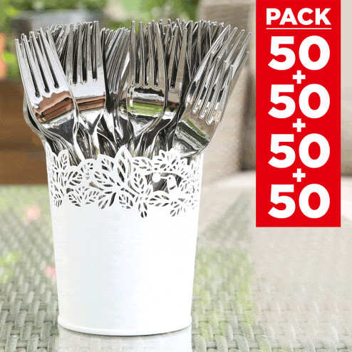 Pack 4 x 50 couverts façon inox