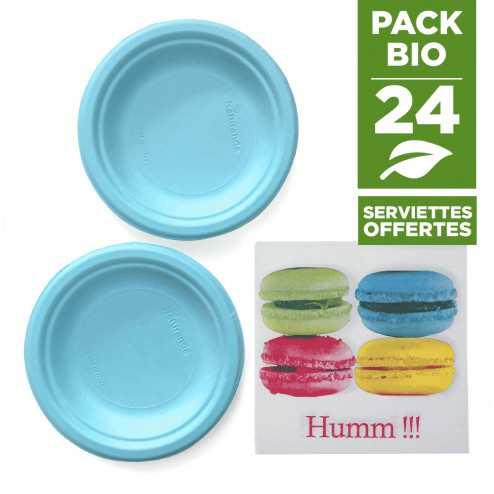 Pack 24 assiettes macaron bleu + 20 serviettes macaron gratuites