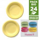 Pack 24 assiettes macaron jaune + 20 serviettes macaron gratuites