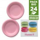 Pack 24 assiettes macaron rose + 20 serviettes macaron gratuites