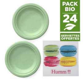 Pack 24 Assiettes macaron vert + 20 serviettes macaron gratuites