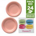 Pack 24 assiettes macaron orange + 20 serviettes macaron gratuites