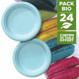 Pack 24 assiettes macaron bleu + 1 chemin de table macaron gratuit