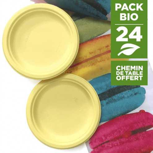 Pack 24 assiettes macaron jaune + 1 chemin de table macaron gratuit