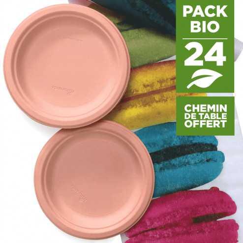 Pack 24 assiettes macaron orange + 1 chemin de table macaron gratuit