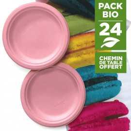 Pack 24 assiettes macaron rose + 1 chemin de table macaron gratuit