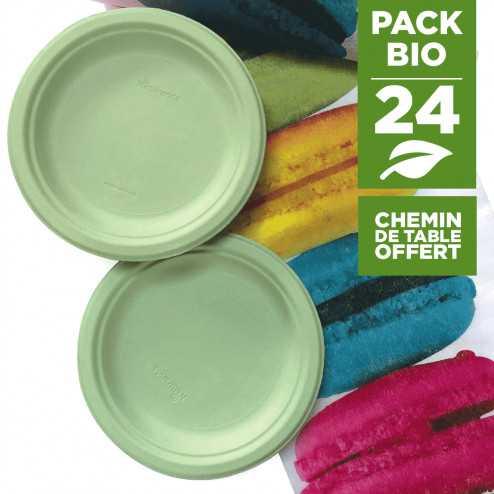 Pack 24 assiettes macaron vert + 1 chemin de table macaron gratuit