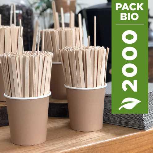 Pack 1000 gobelets Kraft 12cl + 1000 agitateurs bois gratuits
