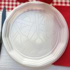 Assiettes rondes blanches design 22 cm. Recyclables. Par 100