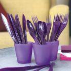 Set de 30 couverts aubergine. Recyclables - Réutilisables. 3x10