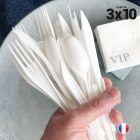 Set de 30 couverts blancs. Recyclables - Réutilisables. 3x10