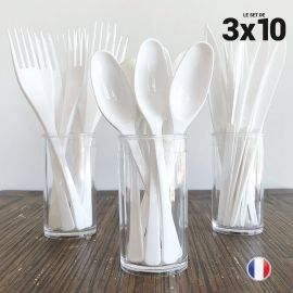 Set de 30 couverts blancs. Recyclables - Réutilisables. 3x10