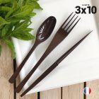 Set de 30 couverts chocolat. Recyclables - Réutilisables. 3x10