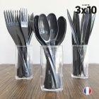 Set de 30 couverts gris. Recyclables - Réutilisables. 3x10