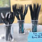 Set de 30 couverts noirs. Recyclables - Réutilisables. 3x10