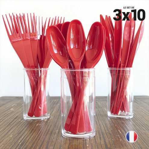 Set de 30 couverts rouges. Recyclables - Réutilisables. 3x10