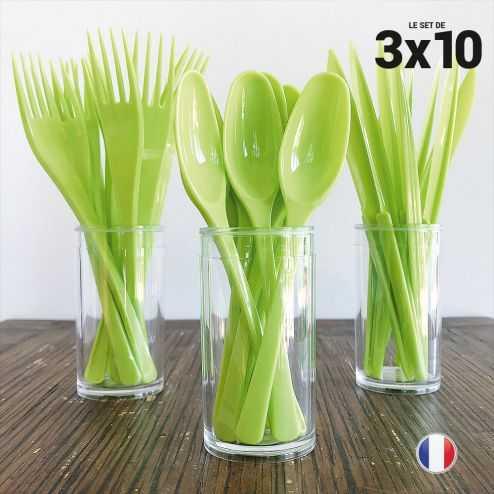 Set de 30 couverts vert. Recyclables - Réutilisables. 3x10