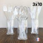Set de 30 couverts cristal. Recyclables - Réutilisables. 3x10