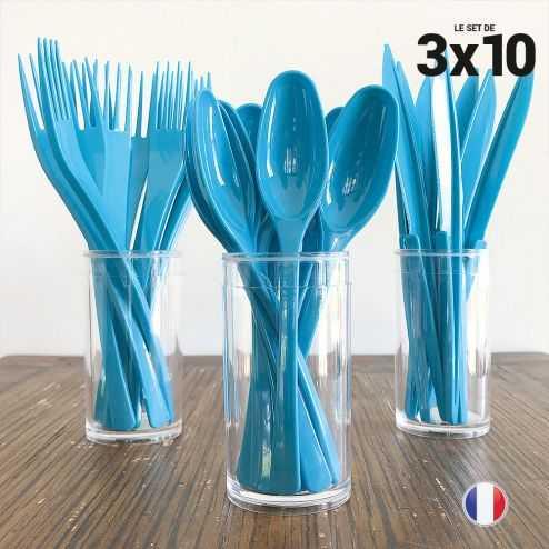 Set 30 couverts turquoise. Recyclables - Réutilisables. 3x10