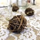 Boules rotin chocolat décoration 3 cm. Par 6